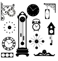 Clock and watch collection black interior element vector