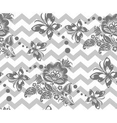 Seamless chevron floral Background vector image