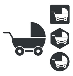 Stroller icon set monochrome vector