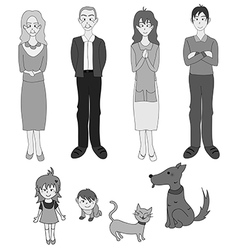 Three generation familys with cat dog gray vector