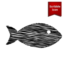 Fish sign with pen effect vector