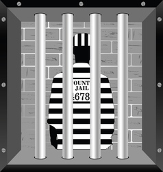 Prisioner in cell jail vector