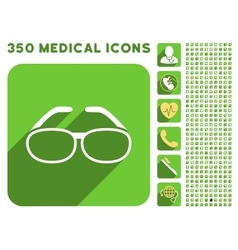 Spectacles icon and medical longshadow icon set vector
