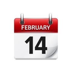 February 14 flat daily calendar icon date vector