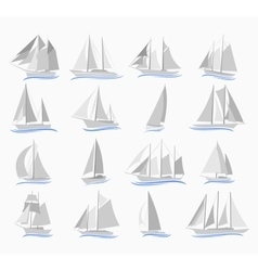 Set of sailing ships vector