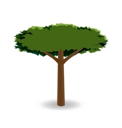 A stylized drawing of a green tree with a round vector
