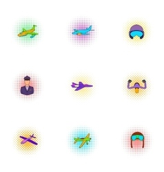 Aircraft icons set pop-art style vector image vector image