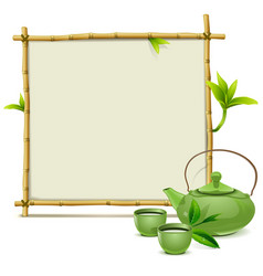 Bamboo Frame with Green Tea vector image vector image