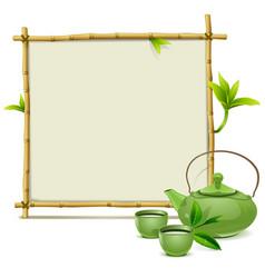 Bamboo frame with green tea vector