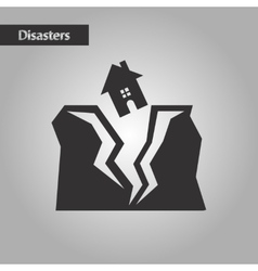 black and white style house earthquake vector image vector image