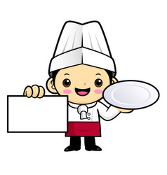 cartoon chef character is holding a plate and vector image