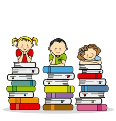 children and books vector image