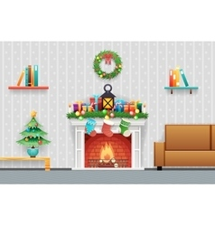 Christmas New Year House Interior Living Room vector image