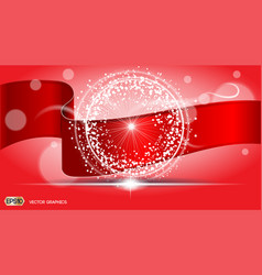 digital abstract red ribbon background with vector image