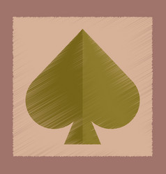 Flat shading style icon game spades vector