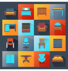 Furniture Icons Flat vector image vector image