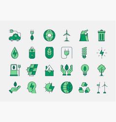 Green outline eco icons vector