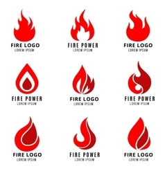 logo set with fire symbols vector image