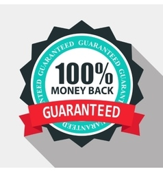 Money back quality label sign in flat modern vector