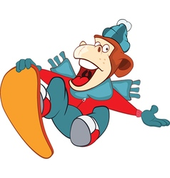 Monkey snowboarding cartoon vector