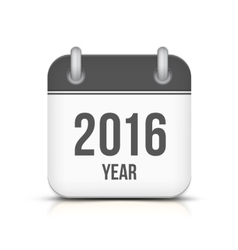 Old year 2016 monochrome calendar icon vector image