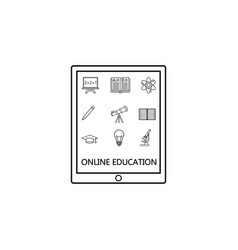 Online education line icon set e-learning vector