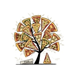 Pizza tree sketch for your design vector image vector image