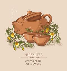 Rooibos tea in teapot and tea bowls vector