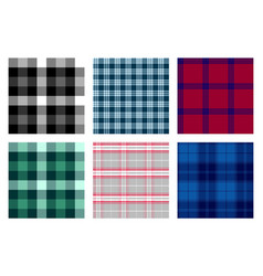 Seamless checkered plaid pattern bundle 6 vector