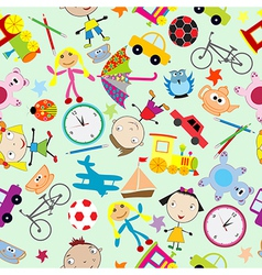 Seamless pattern for kids with toys vector image