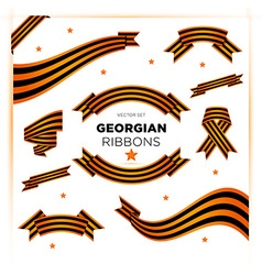 Set of military georgian ribbons for victory day vector