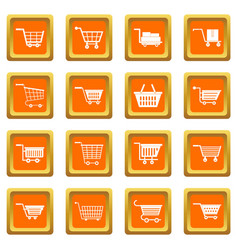 Shopping cart icons set orange vector
