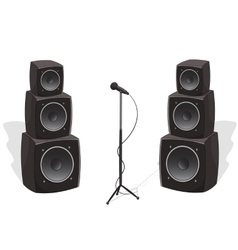 Stage with audio speakers and microphone vector