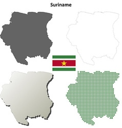 Suriname blank detailed outline map set vector image vector image
