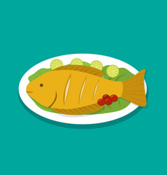 top view fish fry on white plate vector image vector image