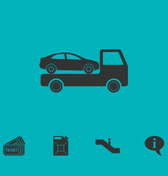 Tow car evacuation icon flat vector