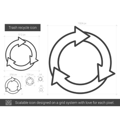 Trash recycle line icon vector