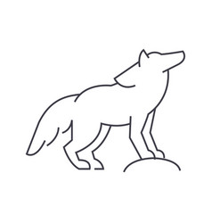 Wolf line icon sign on vector
