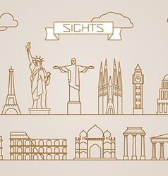 World famous signts abstract lineart silhouettes vector