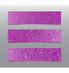 Horizontal set pink sequins banners glitter vector