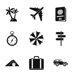 Rest on sea icons set simple style vector