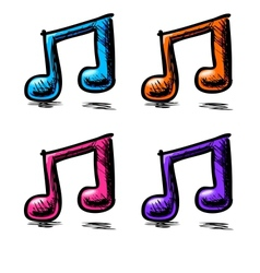 Double music notes set in childish doodle style vector image