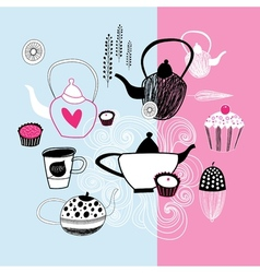tea party graphics vector image