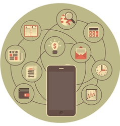 Business Mobility Concept in Gray Circle vector image