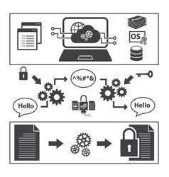 Big data icons set encoding and decoding concept vector