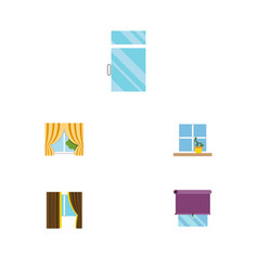 Flat icon window set of clean flowerpot glass vector