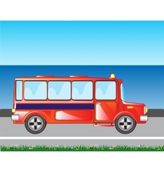 Red bus on road vector