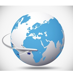 Airliner with globe in the white background vector