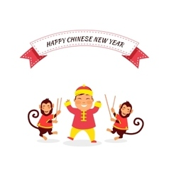 New year background with monkey vector