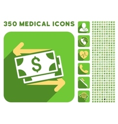 Spend banknotes icon and medical longshadow icon vector